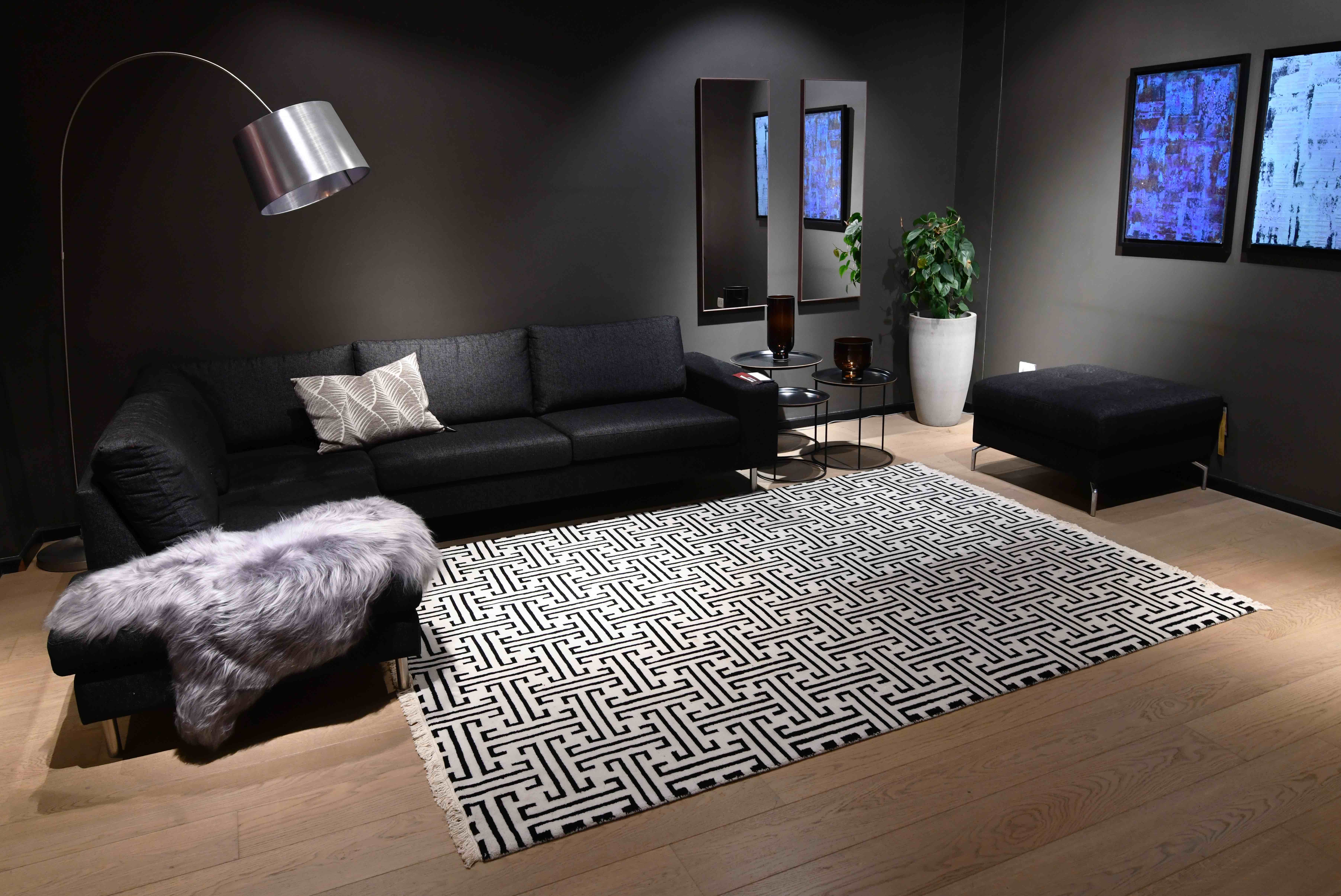 A contemporary rug can make a statement in minimalist modern homes