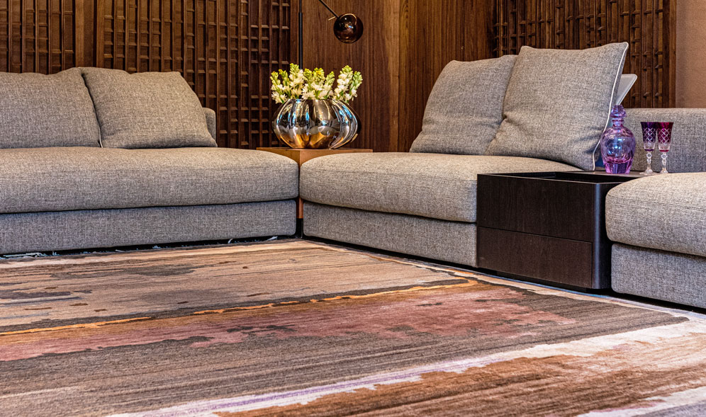 Large living room rugs can anchor and ground a space