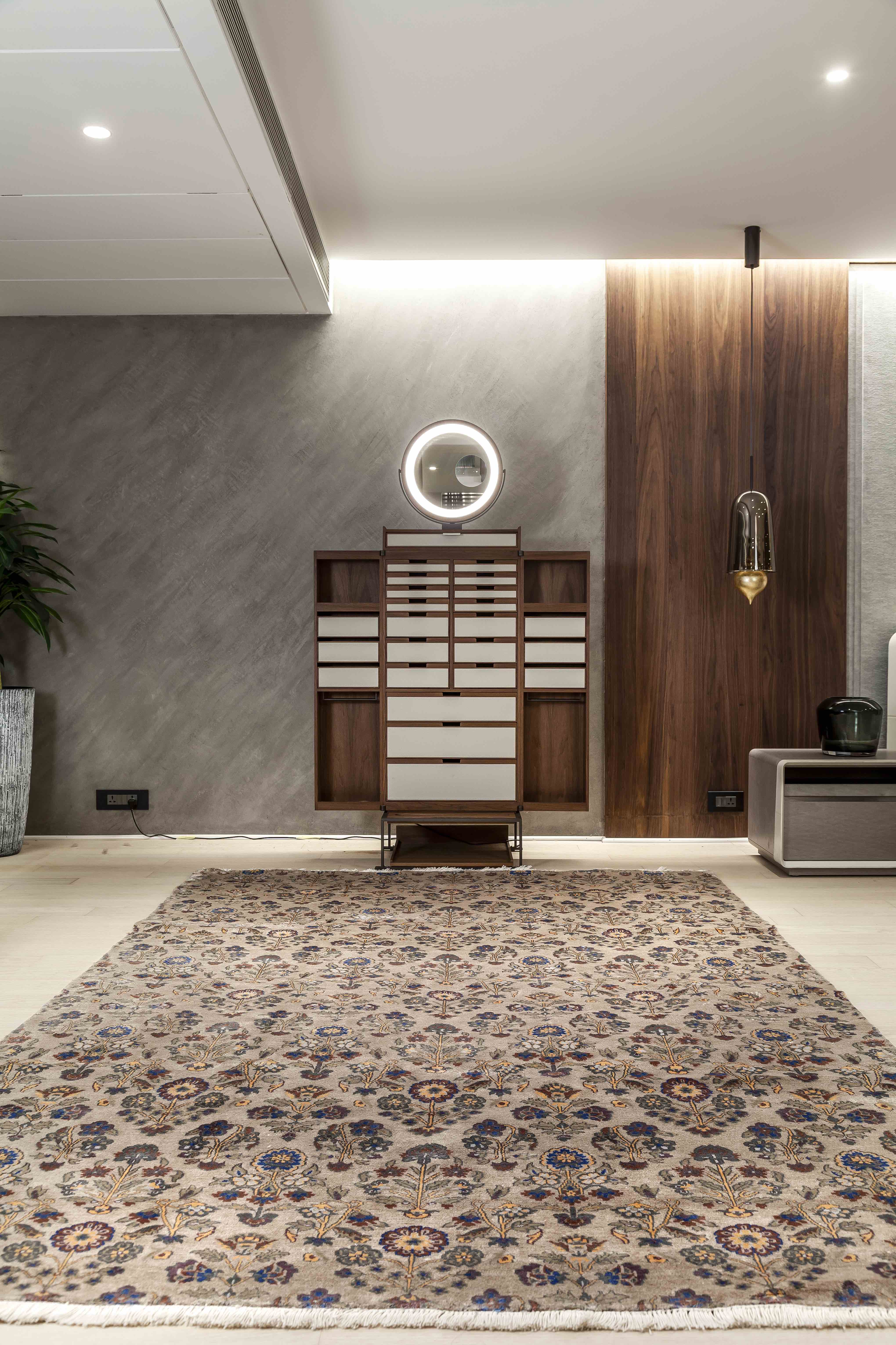 An intricately patterned rug can add a splash of colour to modern homes with hard flooring