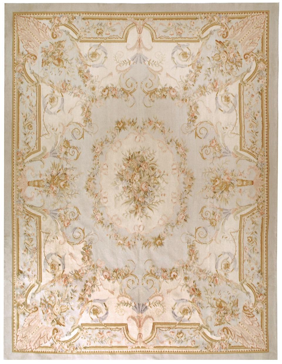 Soft pastel tones are a feature of Aubusson rugs, which were used as carpet art by the French aristocracy